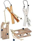 alles-meine.de GmbH 1 Set _  Ski mit Stöcken - Braun - Winter Time  - aus Holz - 16 cm - Miniatu..