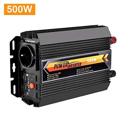 Lacyie Spannungswandler Wechselrichter 500W DC 12V auf AC 230V KFZ Inverter mit TÜV Zertifiziert und 2 USB Anschlüsse inklusive Kfz Zigarettenanzünder Stecker Autobatterieclips Schwarz (500W T8095)