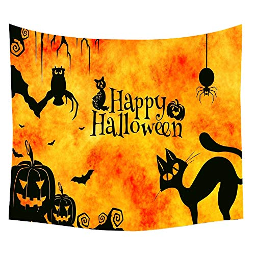 BAIVIT Halloween Kürbis Muster Tapisserie Wand Kinder Schlafzimmer Home Castle Party Hexe Dekoration Tischdecke,Orange,150X130cm