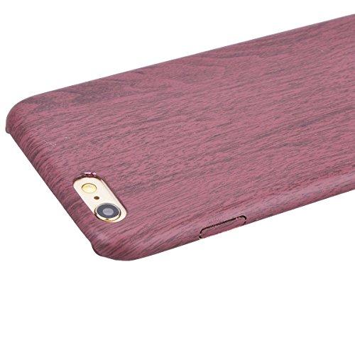 iPhone 6 Hülle iPhone 6S Weich Back Hülle mit Holz Muster, HB-Int 3 in 1 Dünn Silikon Schutzhülle Natur Holzes Dunkel TPU Etui Elegant Case Full Body Bumper Rundum Rahmen Protector Handytasche für iPh Rot Holz