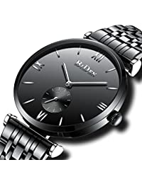 Mens Black Watches Men Waterproof Luxury Casual Dress Fashion Business Stainless Steel Watches Gents Simple Designer Analogue Quartz Wrist Watch