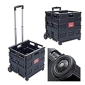 Einkaufstrolley Klappbar | Belastbar bis 35kg | Ausziehbarer Alu Ausziehgriff | Schwarz