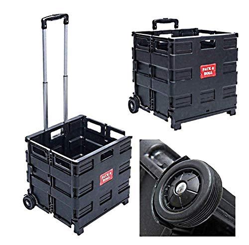 Einkaufstrolley Einkaufswagen Faltbar Schwarz | Belastbar bis 35kg | Ladekapazität 50L | Alu Ausziehgriff