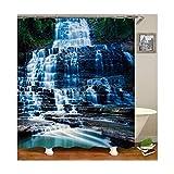 AieniD Duschvorhang Befestigen Muster Wasserfall Bad Vorhang Größe:180X200MM
