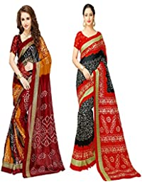 Glory Sarees Women's Bhagalpuri Art Silk Bandhani Saree Combo Pack Of 2(bandhani29&32_red_black_multi)