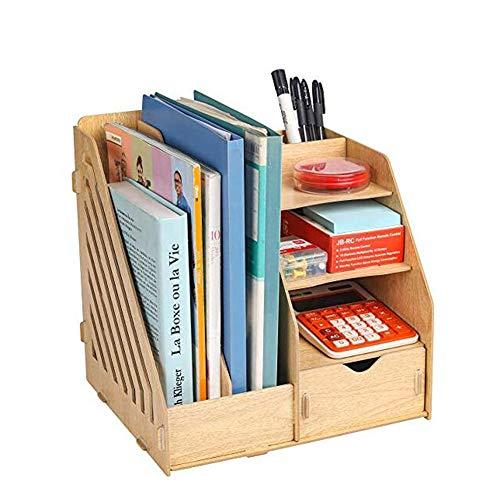 Multifunktional Wooden Desktop Organizer,DIY Schreibtisch Ordentlich Stationären Lagerschrank mit 2...
