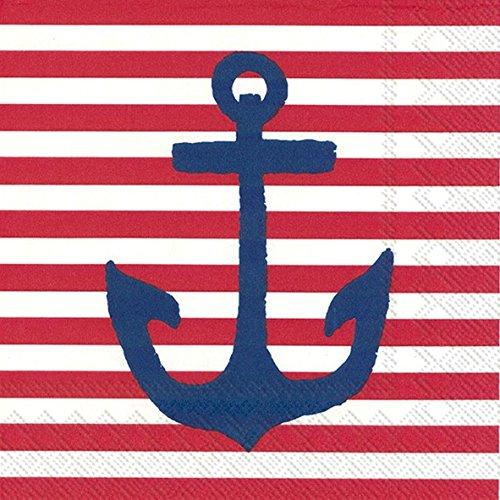 Boston International 20Zählen Yacht Club 3-lagig Papier Cocktail Servietten, rot Anker -