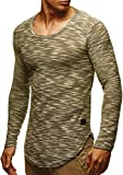 LEIF NELSON Herren Pullover Longsleeve Hoodie Basic Sweatshirt Hoodie Hoody Sweater LN6358; Größe S, Khaki