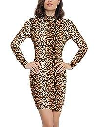 Mini Vestiti Donna Elegante Vintage Leopard Matita Vestito Ragazza Manica  Lunga Invernali Autunno Rotondo Collo Slim 44955a8372f