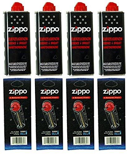 4x Original Zippo Gasolina + 4x flints en dispensador, 0, pack de 1 unidad