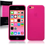 Apple iPhone 5C TPU Gel Skin Case / Cover (Frosted Hot Pink)