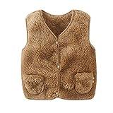Miyanuby Kinder Baby Westen Mädchen Jungen Jacke Oberbekleidung Faux Pelz Mantel Leichte Warme Kleidung 0-5 Jahre