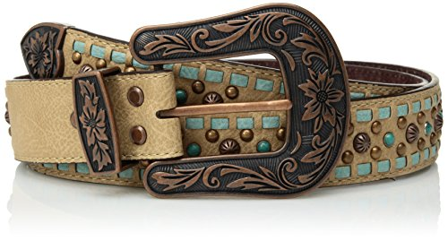 Nocona Belt Co. Damen Nocona Tirquoise Buck Copper Stud Buckle Belt Gürtel, braun, Mittel Stud Belt