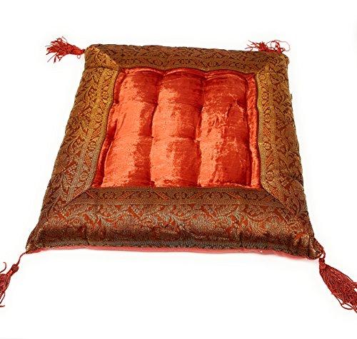 Indische Sitzpuff Sitzkissen Bodenkissen Yogakissen Orientalisches Kissen Indien (Rost) (Sitzkissen Rost)