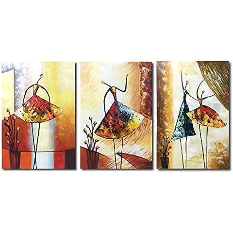 Raybre Art® 100% Pintada a Mano sobre Lienzo Nuevo Cuadros Modernos Arte Pared Pinturas al óleo Grandes Abstractos Bailarina Danza Para Decoración Hogar Sala Cocina, Sin Marco ( 3 pcs/set Bailarinas)