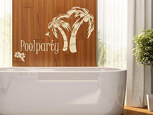 Wandaufkleber Tattoo Poolparty Palmen Blumen - 2