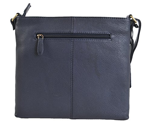 ROWALLAN Nere O Navy Medium Leather Da Spalla Tracolla Zip In Alto Borsa 9543 Navy