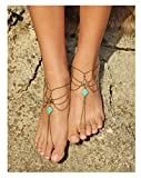 KnSam 1 Stück Damen Fußkettchen Metalllegierung Fußkette Böhmisch Barfuß Strand Kette Quadrat Türkis Retro Silber [Neuheit Fußkette]