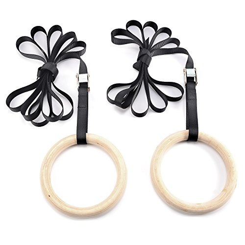 Wooden-Olympic-Gymnastic-Rings-With-Quick-Lock-Buckle-Straps-For-The-Ultimate-Upper-Body-Workout-Perform-Multiple-Fitness-Exercises-Crossfit