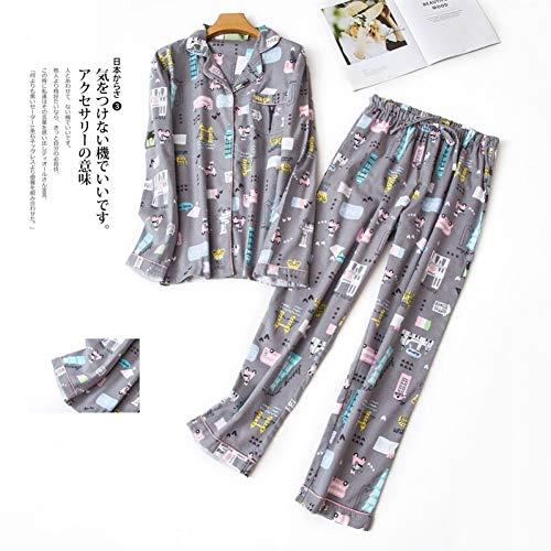 HIUGHJ Pyjamas Plus Größe niedlichen Cartoon Frauen Pyjama Sets 100% gebürstet Baumwolle Vier Jahreszeiten Langen Ärmel Nachtwäsche Pyjamas Frauen (Kostüme Paare Größe Plus)