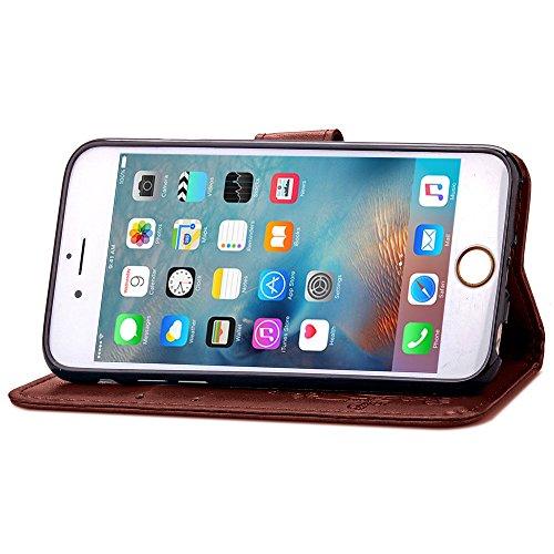 ISAKEN Custodia iPhone 6 Plus, Cover iPhone 6S Plus, Elegante borsa Custodia in Pelle Protettiva Flip Portafoglio Case Cover per Apple iPhone 6 Plus (6 5.5) / con Supporto di Stand / Carte Slot / Chi fiori: marrone