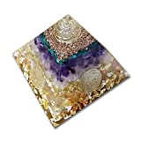 emotion & design Orgonit Piramide - con Molte Pietre preziose e Metalli preziosi e Fiore della Vita.