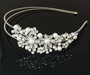 fashion Bridal Flower Ivory Color Pearl Clear Austrian Crystal headband for wedding party