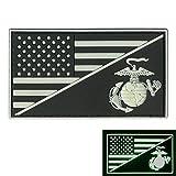 2AFTER1 US Marines Glow Dark USMC USA American Flag Semper Fidelis GITD Morale PVC Rubber Hook-and-Loop