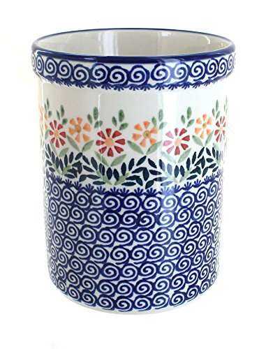 polish-pottery-garden-bouquet-utensil-jar-by-blue-rose-pottery