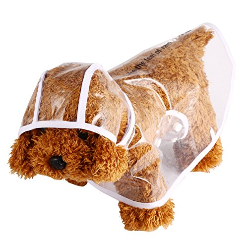 GLOGLOW Chubasquero para Mascotas, 5 Tamaños, Impermeable, Transparente, Chaqueta para Gato, Campana para Perro, Poncho para Exteriores