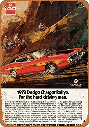 Home Decor 7 X 10 Metal Sign 1973 Dodge Challenger Rallye Vintage Look ()