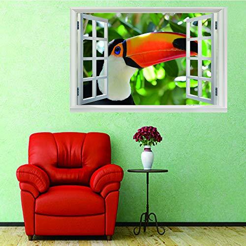Preisvergleich Produktbild whenseven 3D Gefälschte Fenster Wandbild Kunstwandbild Langnasigen Vogel Büro Dekoration Schlafzimmer Küche Dekoration Wandkunst Urlaub Geschenk