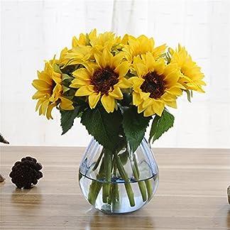 Meiliy 1Bouquet Artificial de Girasol 7-Stems Flores para Decoración del hogar decoración de Boda, Novia Holding Flores Decors