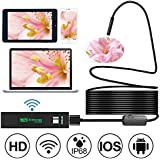 JIMAT WiFi 1200P HD Endoscope, 5M Wireless Waterproof lP68 Tube Pipe Inspection Camera Color Video Sewer Snake Borescope | 2.0 Megapixels CMOS 8 LEDs 8mm Lens | Android iPhone iPad Tablet PC | 16.4ft