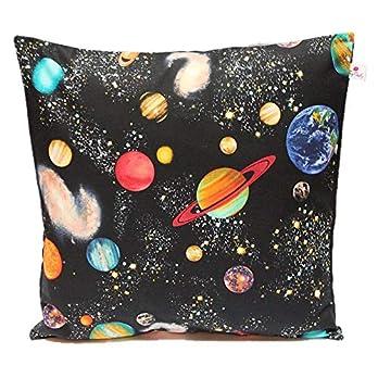 """TryPinky® Kissenbezug 40 X 40 cm"""" Weltraum Schwarz"""" Planeten Planet Erde Kissenhülle für Kissen Universum 100% Baumwolle BW"""