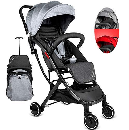 Besrey Buggy Kinderwagen Reisebuggy einhand kompakt klappbar mit Liegeposition + Regenverdeck Grau