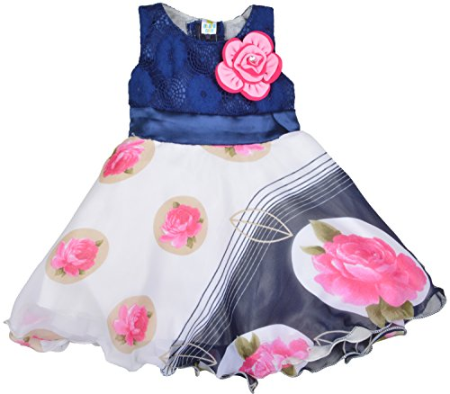 Kuchipoo Baby Girls Party Wear Dress Sleeveless Skirt (KUC-FRK-109, Blue & White, 6month - 18 Months)