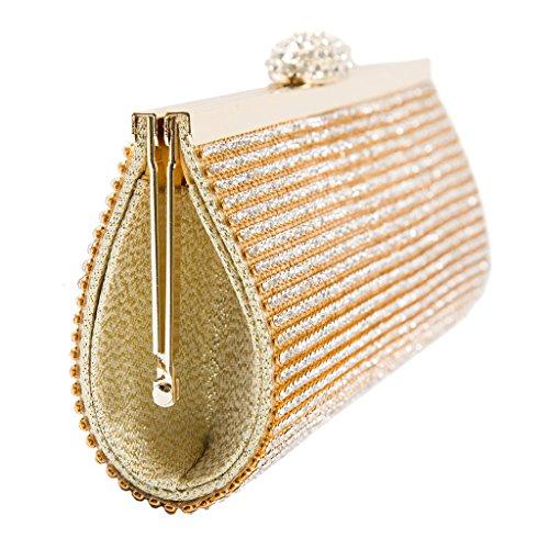 Signora di Cristallo Sera Catena Pochette Borsa Sacchetto da Partito Della Frizione Pochette da Giorno per Matrimonio Oro