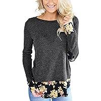 Preisvergleich für Lylafairy Damen Casual Langarm Shirt Pullover Floral Splice Printing Rundhals Tops T Shirt Oberteil
