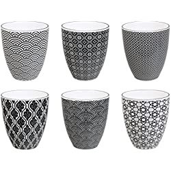 Tokyo Design Studio Nippon Black Tassen Set aus hochwertigem Porzellan - 6-er Set Tassen ohne Henkel - jede Kaffeetasse / Teetasse fasst 300 ml - Spülmaschinenfest und mikrowellengeeignet