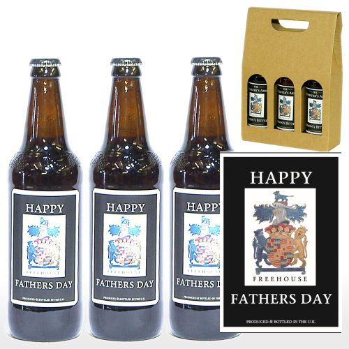 Personalised 3 x 500ml Yorkshire Ales with 'Happy Fathers Day' on the Labels in a Gift Box - Gift Ideas Dad on Father's Day, Celebration Gift For Him