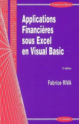 Applications Financières sous Excel en Visual Basic par Fabrice Riva