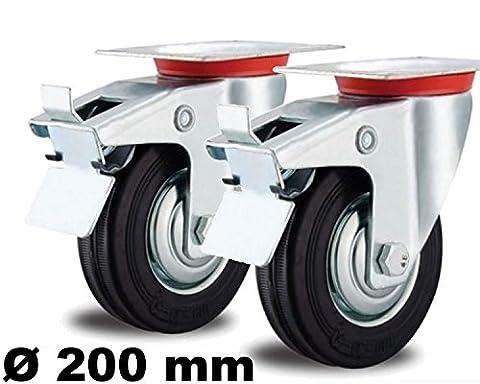 2 Lenkrollen mit Bremse 200mm Schwerlast bis 200 kg mit Stahl-Felge Voll-Gummi 200 mm Plattenrolle