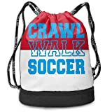 ewtretr Sacche Coulisse Zaino,Borse Sportive, Unisex Drawstring Backpack Crawl Walk Soccer Large Polyester Sport Bag for Men And Women