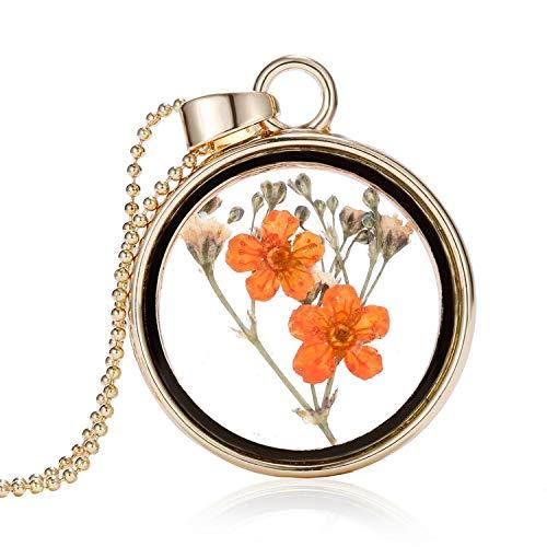 MYYQ 925 Sterling Silber Damen Kette mit Anhänger mit, Glas getrocknete Blume Halskette orange Blumen Runde Foto Frame Element Zierpflanze Probe Schmuck