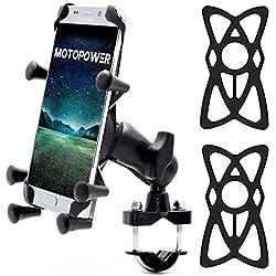 MOTOPOWER MP0619 Vélo Moto téléphone portable support essuie-tout pour n'importe quel Smartphone et GPS - Universel de montagne et route de vélo moto Guidon Cradle support