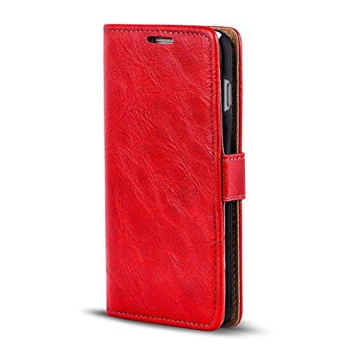 iPhone 4S , 4 Bookstyle Hülle,Conie Mobile Handytasche Wallet Tasche PU Leder Schutzhülle Klapptasche, Kartenfächer, Book Case in Schwarz Rot
