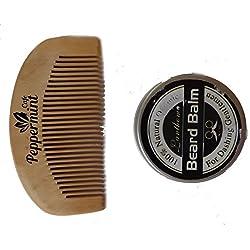 Menta Cafe Set de bolsillo Peine para barba y cera Kit–mejor calidad bambú, anti estática, no pega–perfecto para aceites y Balms–tamaño de bolsillo–de madera peine para barba y cera Set