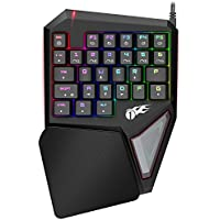 Tastiera a Una Mano 1byone, Tastiera Meccanica da Gioco, Tastiera per Gaming con 29 Tasti Programmabile e con Retroilluminazione RGB a LED Regolabile, per Windows e Mac, Nera