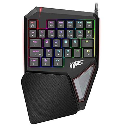 1byone Professionelle Einhändige Mechanische Gaming Tastatur mit 29 programmierbaren Tasten und kompletter RGB LED-Hintergrundbeleuchtung, Schwarz